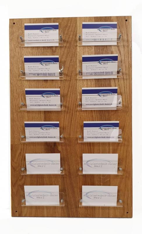 12 Fach Visitenkartenwandhalter Aus Acrylglas Uns Holz In Eiche