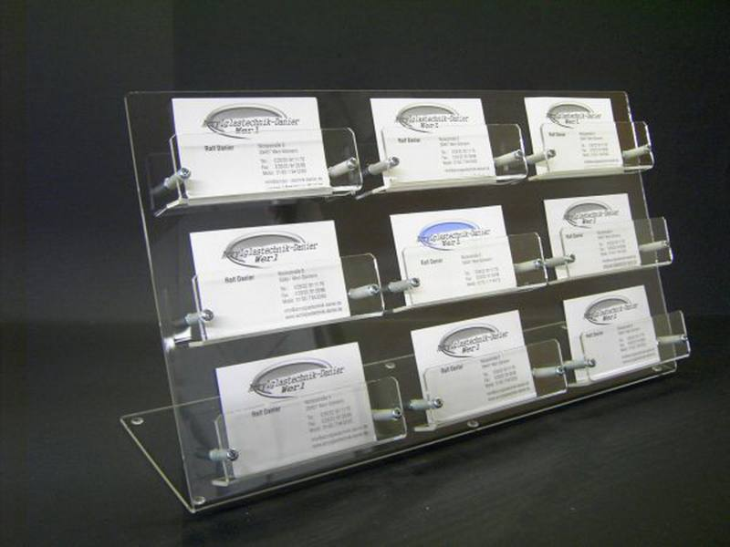 9 Fach Visitenkartenständer Aus Acrylglas Mit Einzelfächern