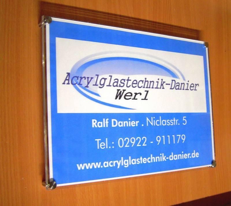 Türschild,Werbeschild aus Acrylglas mit Messinghalterungen,DIN A6,2 Ausführungen